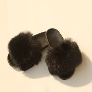 BLFAUXB Black Faux Fur Slides Slippers