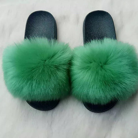 BLFAUXG Green Faux Fur Slides Slippers