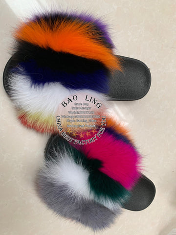 BLFBC Colorful Rainbow Fur Slides Slippers