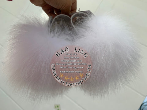 BLBW Super Cute Baby White Fur Slides Slippers