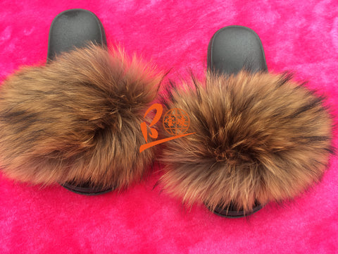 BLRBN Big Natural Raccon Fur Slippers