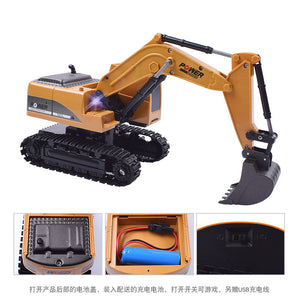 Alloy excavator remote control engineering vehicle wireless remote control model car electric boy toy cross-border