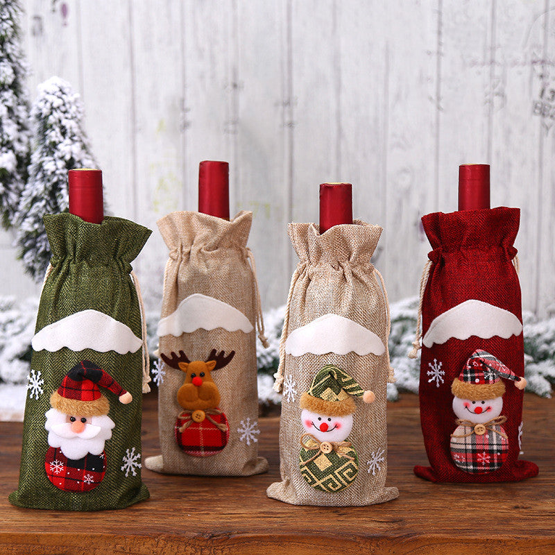 Creative Linen Doll Festival Red Wine Bottle Bag