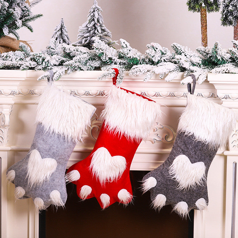 Cartoon Christmas Cat's Claw Socks Decorative Pendant