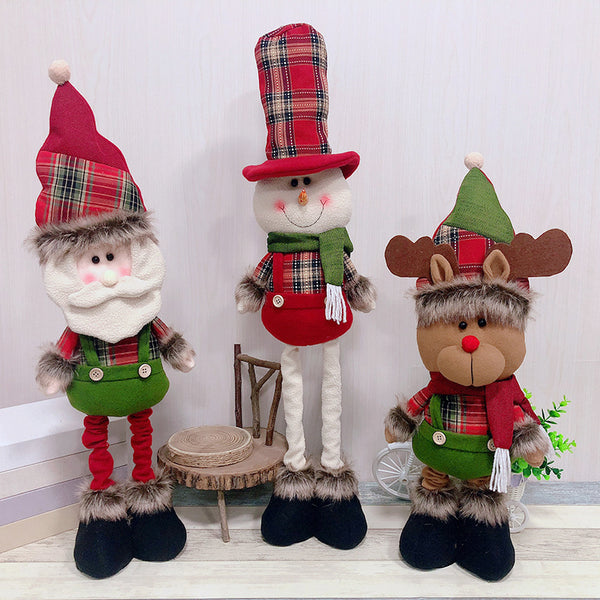 extendable retractable large plush christmas decoration doll toy santa claus elk snowman with overalls