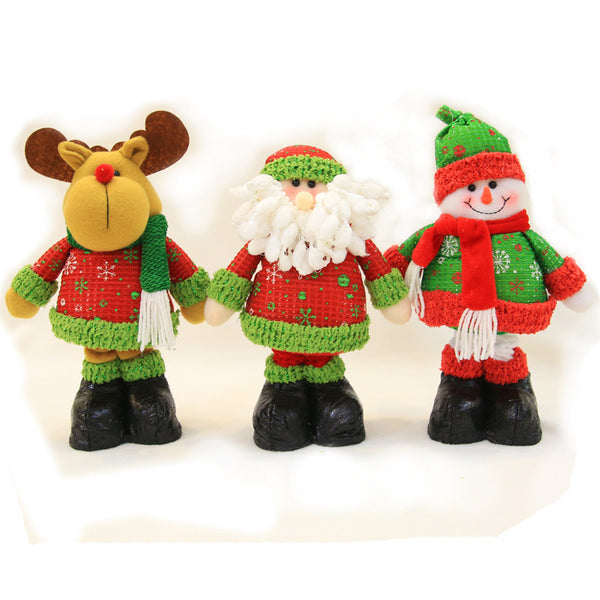 extendable retractable plush christmas decoration doll toy santa claus elk snowman with wool