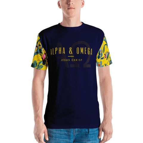 Dark Blue Alpha & Omega Floral Sleeve Men's T-shirt - Eraless