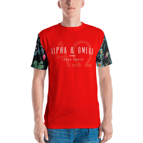Red Alpha & Omega Floral Sleeve Men's T-shirt - Eraless