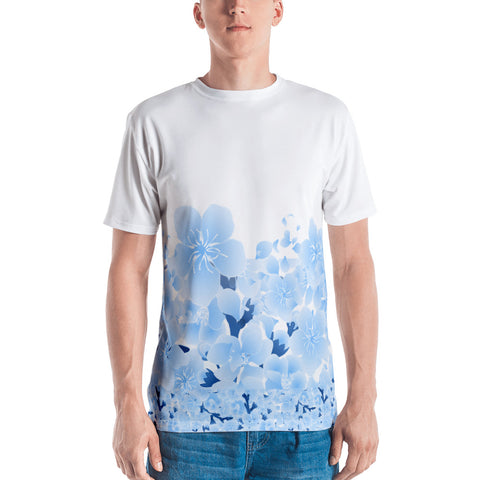 """Made To Worship God"" Blue Floral -Men's T-shirt - Eraless"
