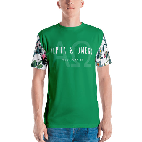 Green Alpha & Omega Floral Sleeve Men's T-shirt - Eraless
