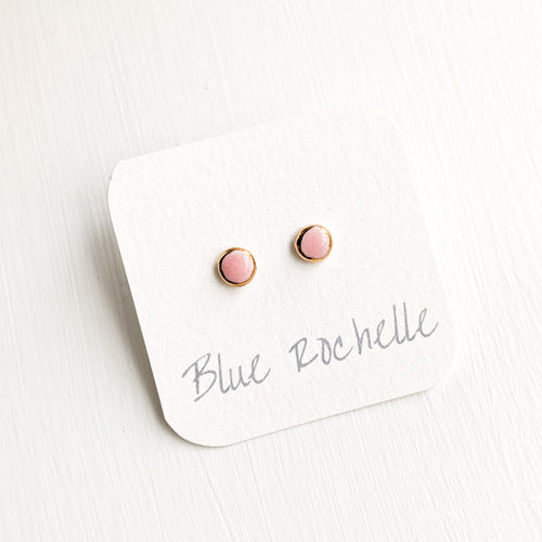 Glossy Pink Rose Studs by Blue Rochelle