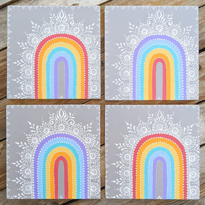 "Henna Rainbow Wood Panels 8""x8"""