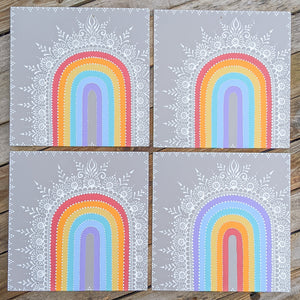 "Henna Rainbow Wood Panels 12""x12"""