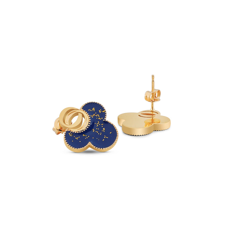 OSJ20 Ladies Earrings Flora Collection Blue With Gold Glitte