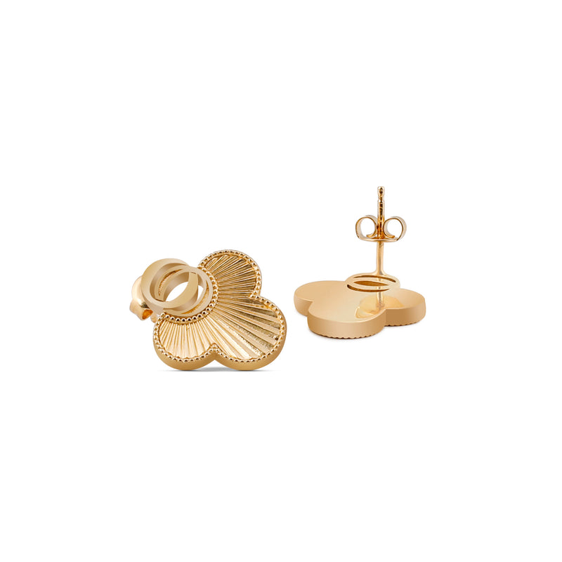 OSJ20 Ladies Earrings Flora Collection Gold Metal Grained Pave