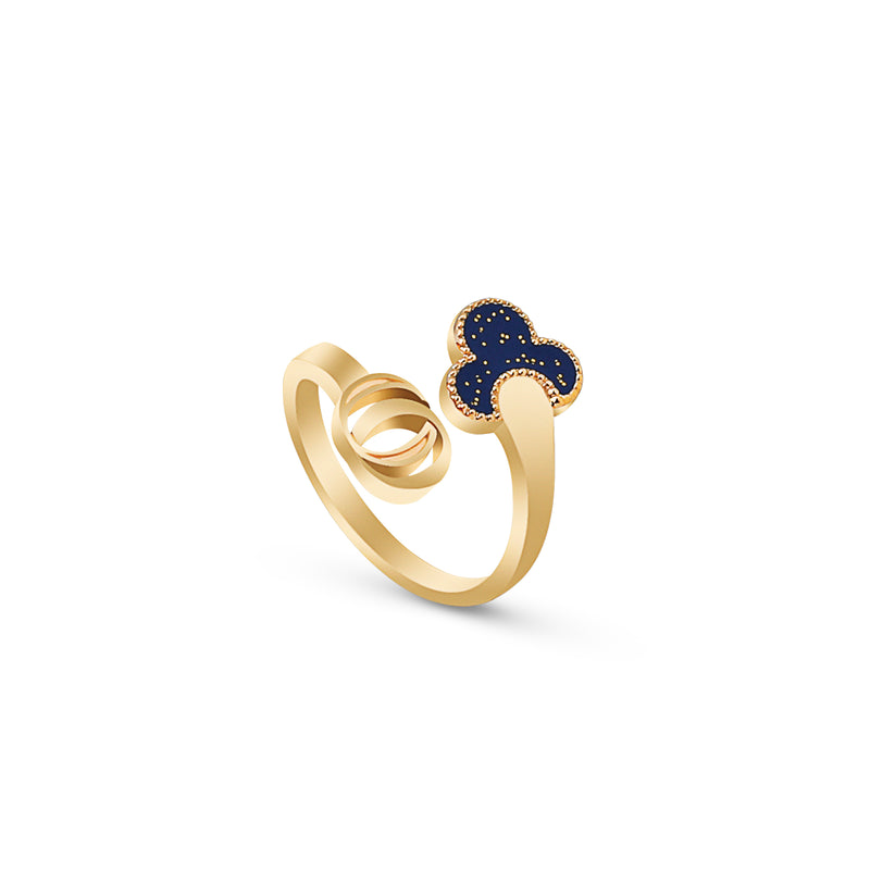 OSJ20 Ladies Ring Flora Collection Blue With Gold Glitte