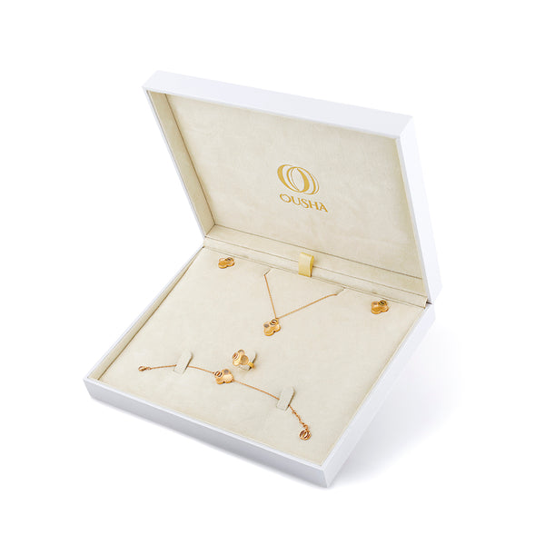 OSJ20 Ladies Set Box Flora Collection Gold Metal Grained Pave