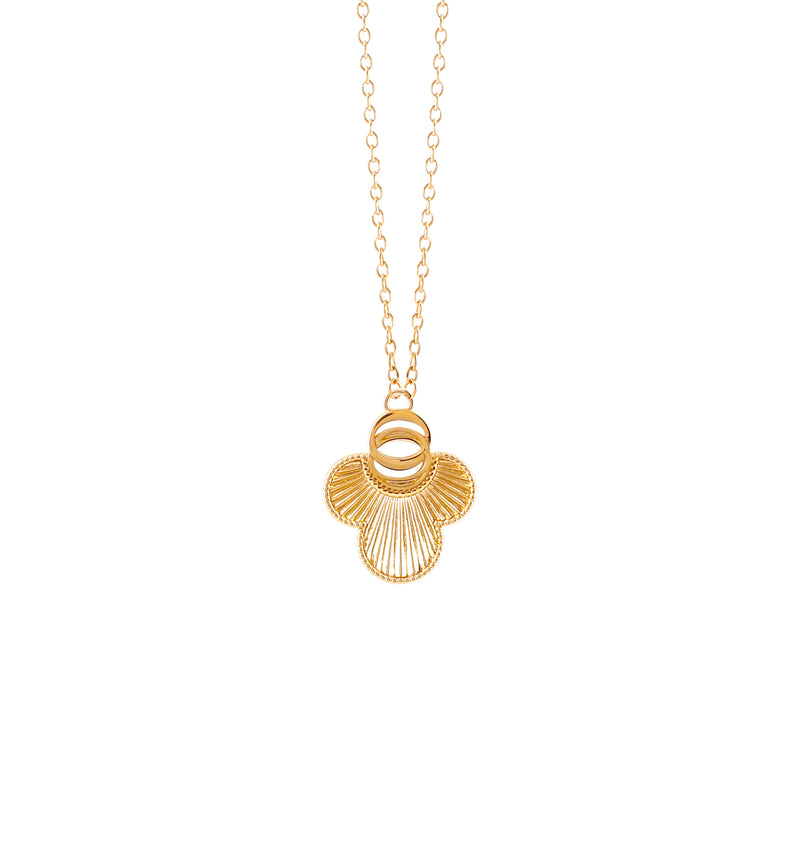 OSJ20 Ladies Necklace Flora Collection Gold Metal Grained Pave