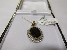 9ct Garnet and Diamond Pendant
