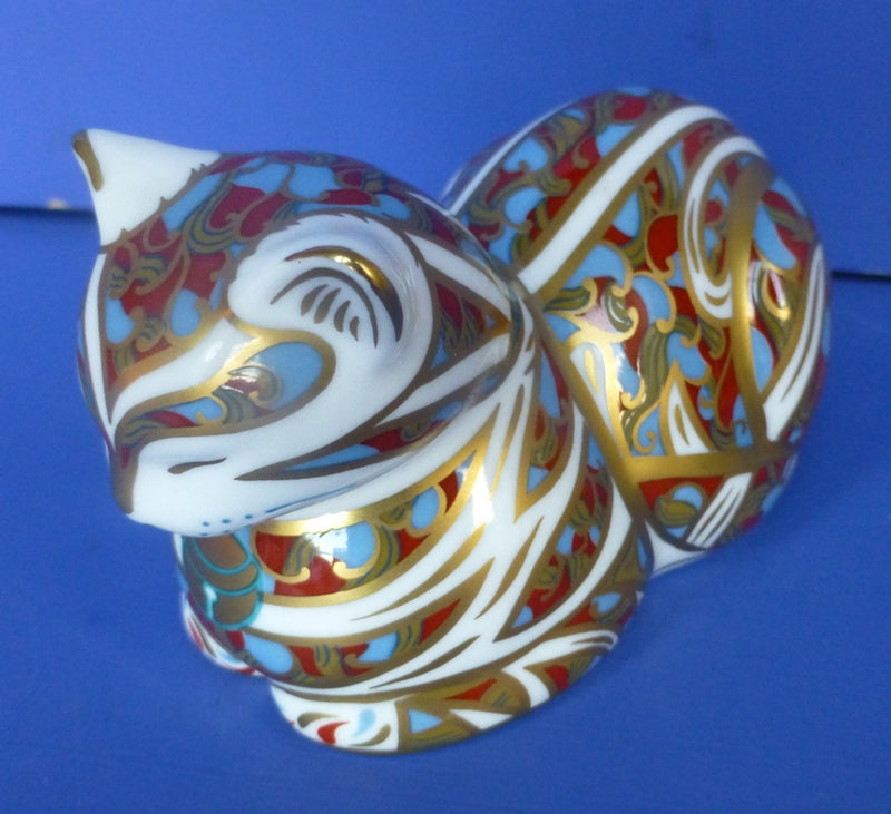 Royal Crown Derby Paperweight - Contented Cat (Boxed)