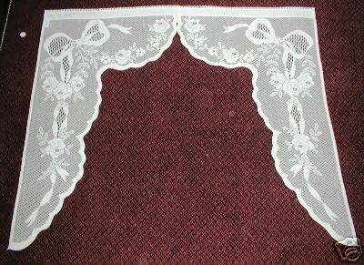 Gustavian -Vintage 1920's Style Pair of White Cotton Lace Swag Curtain Panels - 48 X 45 inches