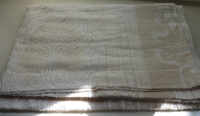Antique Style Ivory Empire Madras Cotton Lace Curtain Panel - 66 x 47Inches- Ready-made