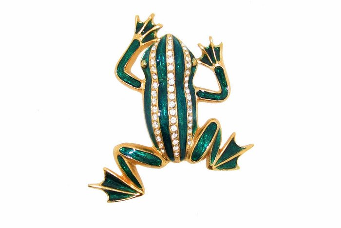 Frog Brooch Pin Green Striped Enamel