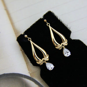 (SOLD) 9ct Gold & Cubic Zirconia Earrings