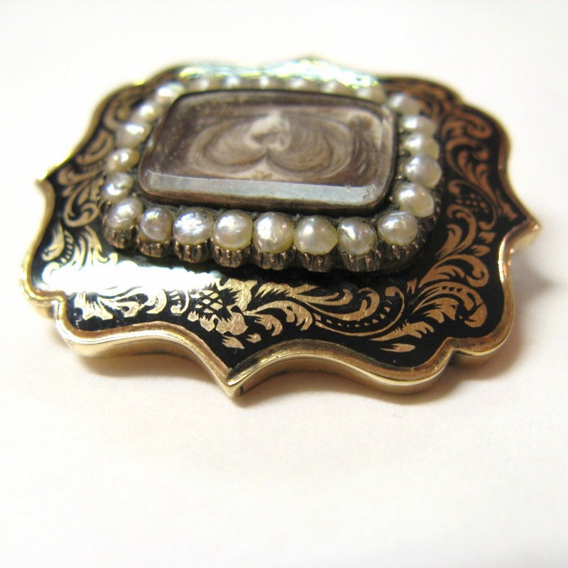 Victorian 15ct Gold Mourning Hair Brooch with Pearls and Enamel
