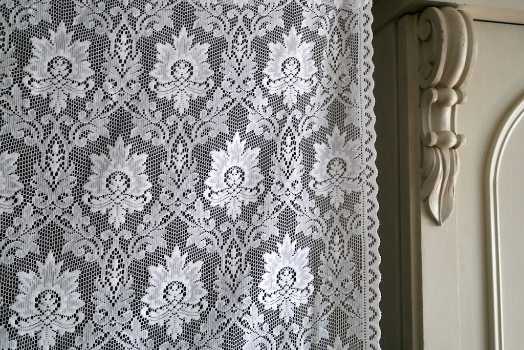Alice - c1910 antique cream Cotton Lace Curtain Panelling By The Metre - Width 120 cms