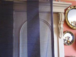 """Terese stripe"" Antique classic graphite grey Madras Cotton Lace Curtain Panelling - 48 Inches wide cut from the roll"
