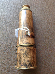 19th century leather bound brass 3 draw telescope by kelvin and Hughes London. circa 1830