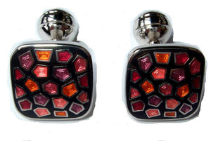 Duchamp Mosaic Cufflinks Black Pinks