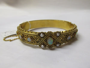 1870-90 Victorian Opal & Pearl Bangle