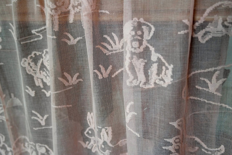 Vintage Design nursery animals Madras Cotton Lace Curtaining 68Inches wide sold per metre