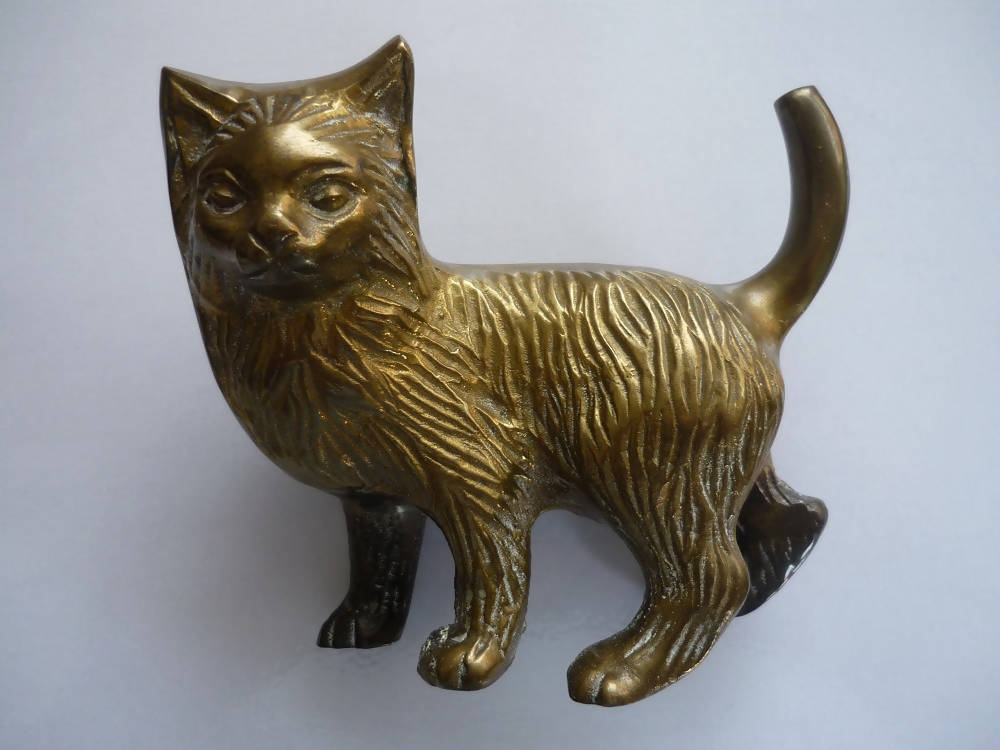 A Heavy Brass Cat Ornament.