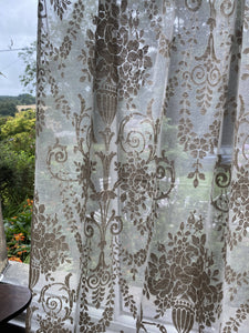 "Roccoco scroll french Chateaux- Antique design cotton madras Lace Curtain 66""/80""Inches-"