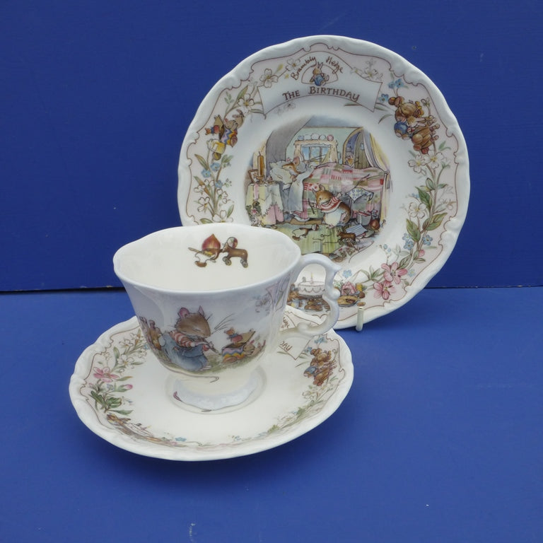 Royal Doulton Brambly Hedge Children's Trio The Birthday (Teacup, Saucer and Tea Plate) - Boxed