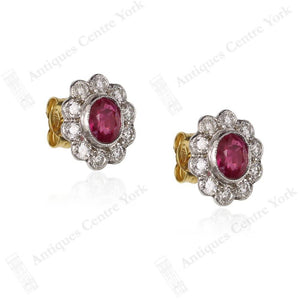 18ct Ruby & Diamond 0.80ct Oval Cluster Earrings
