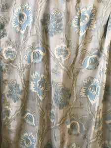 "Pale Blue /yellow Pure Cotton period Jacobean design Crewelwork Madras lace top end designer Panel - 68""/120""to finish"