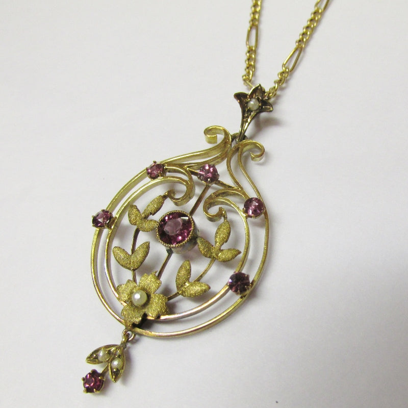 Antique Edwardian Seed Pearl Art Nouveau 9ct Gold Pendant