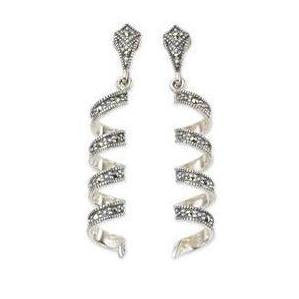 Silver Marcasite Spiral Earrings
