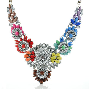 Multi-coloured Rainbow Statement Crystal Necklace