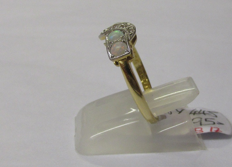 **RESERVED FOR GARY** Art Deco 18ct Gold Opal & Diamond Ring