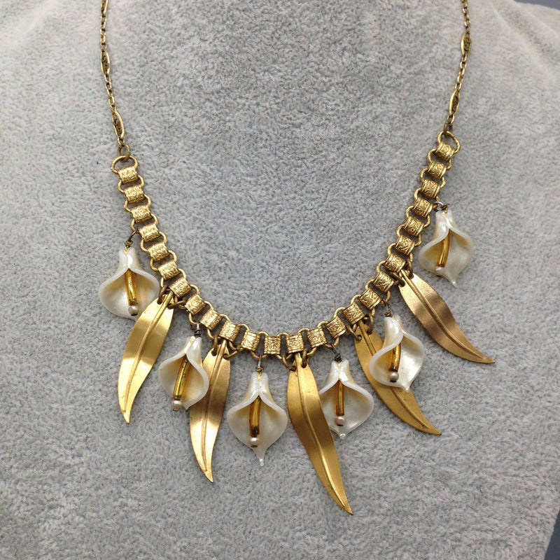 1950's lily fringe necklace