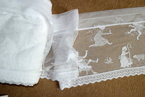 "Nursery Rhymes Scottish Cotton Lace Valance Curtain Panel - 12"" drop by the metre"