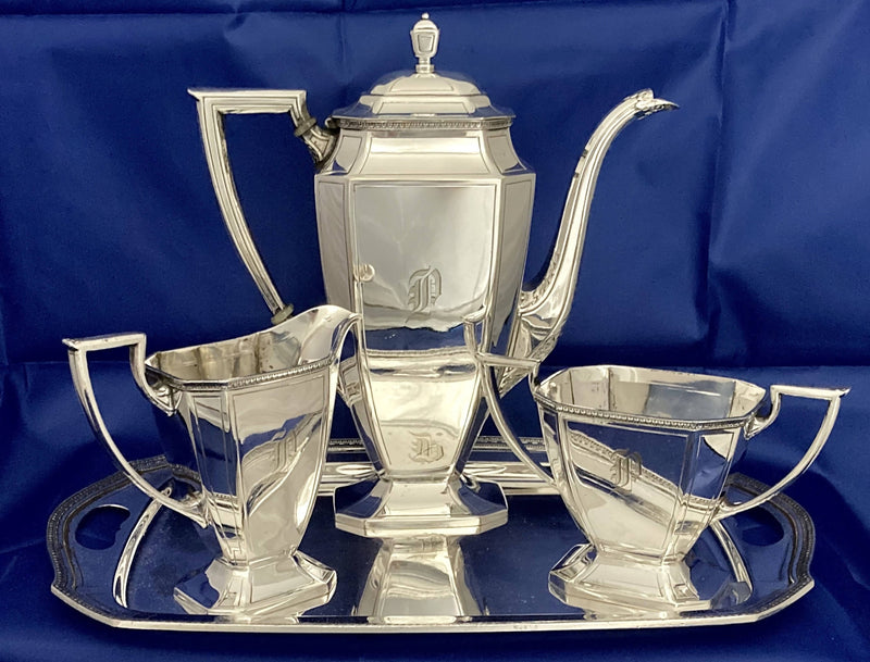 Art Deco Silver Plated Bachelor's Coffee Set. Pairpoint, Bedford, Massachusetts, circa 1930.