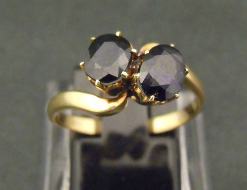 18ct gold, double oval sapphire ring