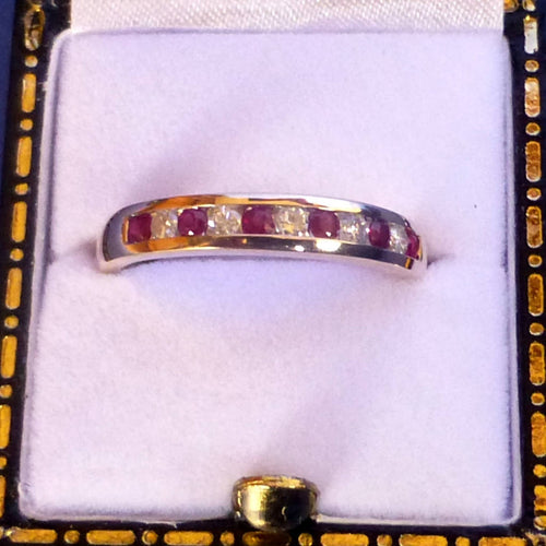9ct Yellow Gold Ruby and Diamond Channel Set Eternity Ring (Six Rubies) Size O +1/2