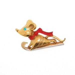 Butler & Wilson Christmas Mouse on Sledge Brooch Pin